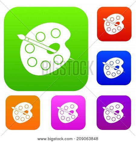 Palette set icon color in flat style isolated on white. Collection sings vector illustration