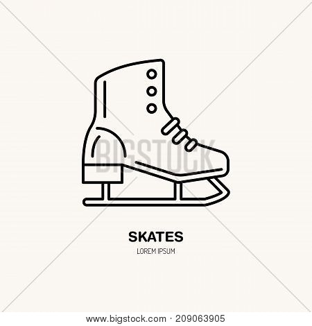 Vector thin line icon of skates. Winter recreation equipment rent logo. Outline symbol of figure skating. Cold season activities, ice rink sign.
