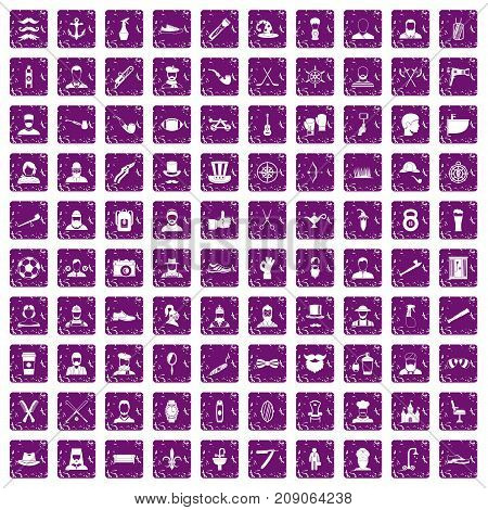 100 beard icons set in grunge style purple color isolated on white background vector illustration