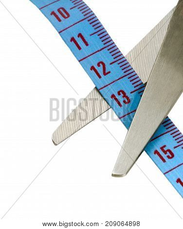 Scissors And Blue Tape Measuring