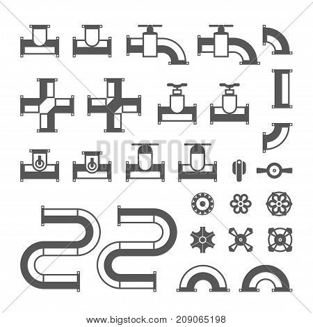 Monochrome pipes and valves - modern vector isolated clip art on white background. Set of details for plumbing work. Water tubes, connectors
