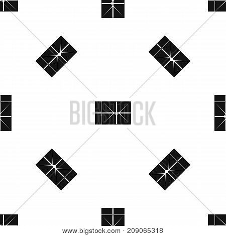 Postal parcel pattern repeat seamless in black color for any design. Vector geometric illustration