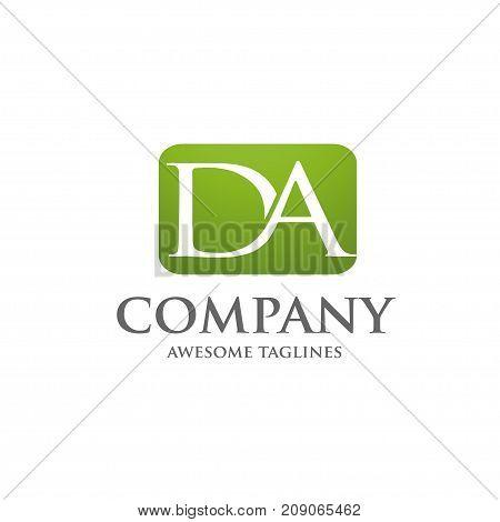 elegant letter DA logo square background concept, D and A letter logo, Letter D, letter A
