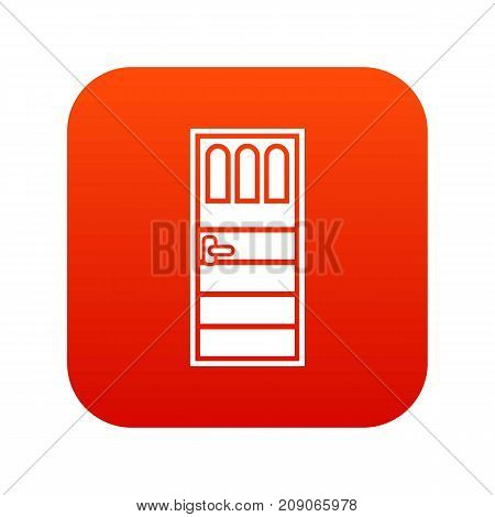 Wooden door with three glasses icon digital red for any design isolated on white vector illustration