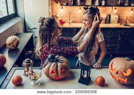 Mom With Daughter On Halloween
