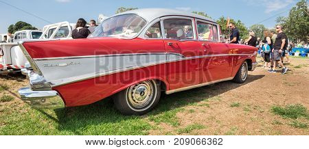 Large Panoramic View Of Vintage Chevrolet 1957 Presented On Annual Oldtimer Car Show, Israel