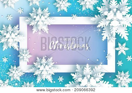 Blue Merry Christmas Greetings card. White Paper cut snow flake. Happy New Year Decoration. Winter snowflakes background. Seasonal holidays. Snowfall. Ractangle frame. Text. Vector illustration.