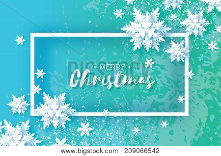 Origami Snowfall. Merry Christmas Greetings card. White Paper cut snow flake. Happy New Year. Winter snowflakes. Rectangle frame. Text. Holidays. Blue background. Texture. Vector illustration