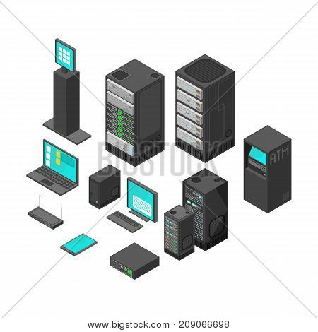 Isometric technology and banking icons. Flat vector illustration. Computer and laptop with system hardware networking