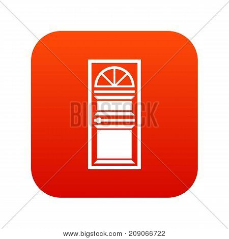 Door with an arched glass icon digital red for any design isolated on white vector illustration