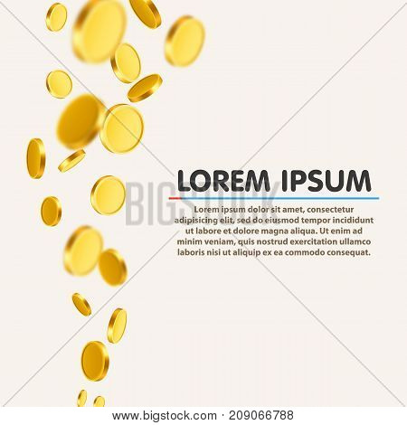 Falling coins, falling money, flying gold coins, golden rain. Jackpot or success concept. Modern background. Vector illustration