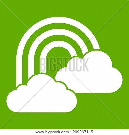 Rainbow and clouds icon white isolated on green background. Vector illustration