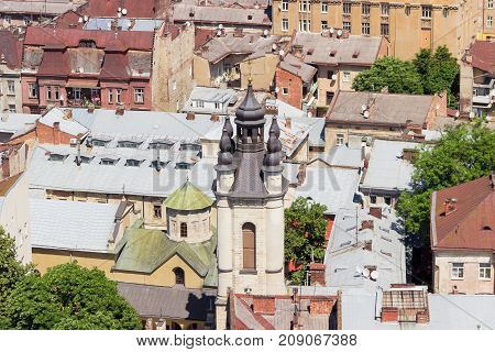 Ensemble of the Armenian Cathedral of the Assumption of Mary built in the 14-th century view from tower of city town hall in Lviv Ukraine