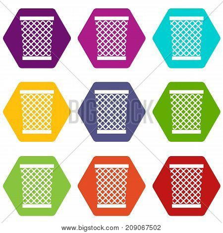 Wastepaper basket icon set many color hexahedron isolated on white vector illustration