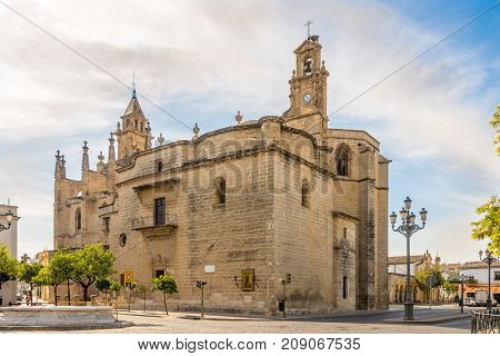 JEREZ DE LA FRONTERA,SPAIN - SEPTEMBER 30,2017 - View at Santiago church in the streets of Jerez de la Frontera. Jerez is known as the city of flamenco sherry horses and motorcycles.