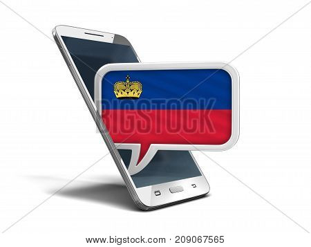 3d Illustration. Touchscreen smartphone and Speech bubble with Liechtenstein flag. Image with clipping path