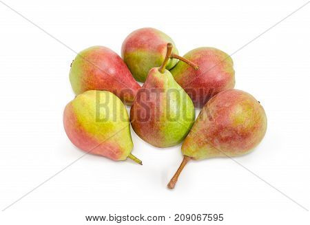 Several ripe red and green European pears on a white background