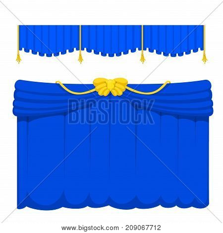 Theather scene blind blue curtain stage fabric texture performance interior cloth entrance backdrop isolated vector illustration. Presentation velvet luxury show boards elegant decor