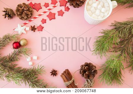 Christmas Background With Copy Space, Fir Tree Branches, Hot Chocolate With Marshmallows, Anise, Cin