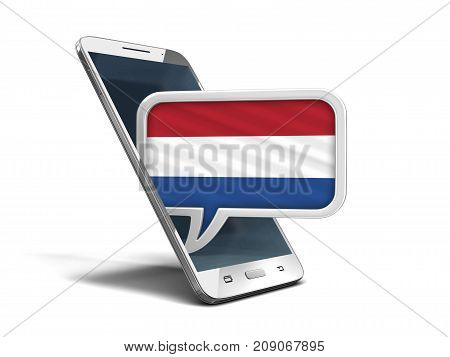 3d Illustration. Touchscreen smartphone and Speech bubble with Netherlands flag. Image with clipping path