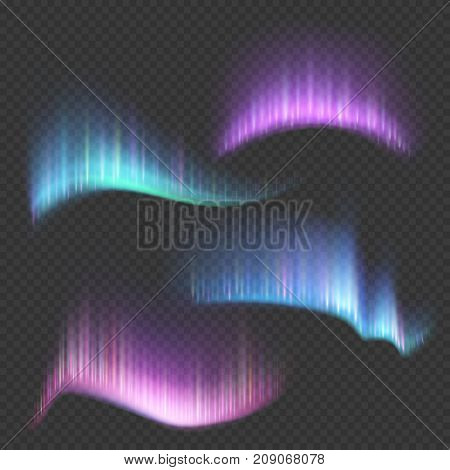 Northern aurora lights strips isolated on transparent background. Northern aurora borealis bright colorful in sky, vector illustration