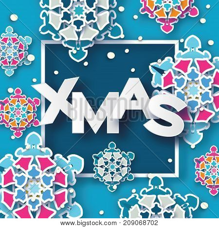Colorful XMAS Greetings card. Christmas Snowfall. Paper cut snow flake. Happy New Year invitation. Winter snowflakes background. Square frame. Space for text. Blue. Holidays. Vector illustration.