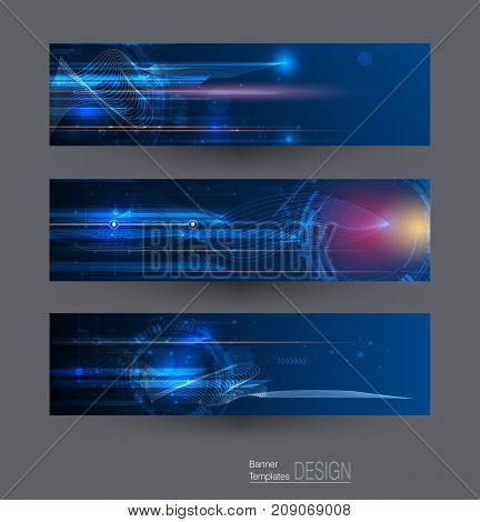 Abstract banners set with image of speed movement pattern and motion blur over dark blue color. Science, futuristic, energy, technology concept. Vector background for web banner template or brochure
