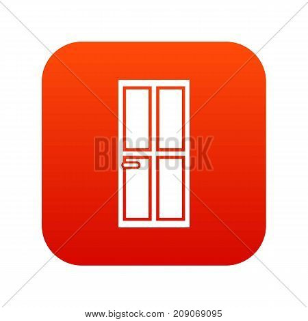 Closed wooden door icon digital red for any design isolated on white vector illustration