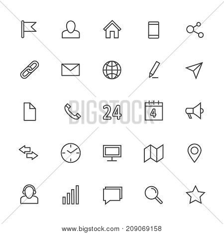 Contact line vector icons. Media and internet communication outline symbols. Communication web icons, pin and star, connection and address line icon illustration