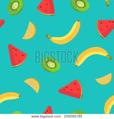 Beautiful seamless pattern with bananas and pieces of orange, kiwi, watermelon on blue background. Backdrop with juicy tropical fruits. Colored vector illustration for wrapping paper, fabric print