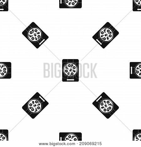 Pizza with pineapple and basil on board pattern repeat seamless in black color for any design. Vector geometric illustration