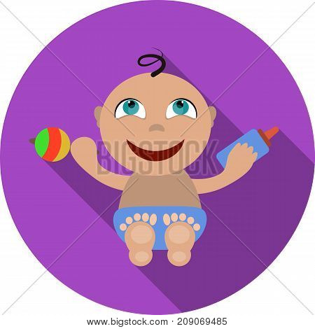 Kid with rattle vector illustration. Baby flat icon