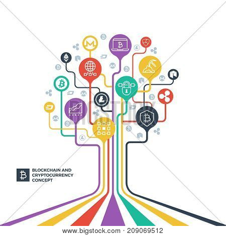 Blockchain, cryptocurrency cryptography and data distribution vector concept. Cryptography business, money cryptocurrency illustration