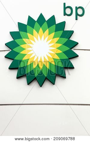 Geneva, Switzerland - October 1, 2017: BP also name British Petroleum, is one of the world's six biggest oil and gas companies. It is a British multinational company, headquartered in London, England