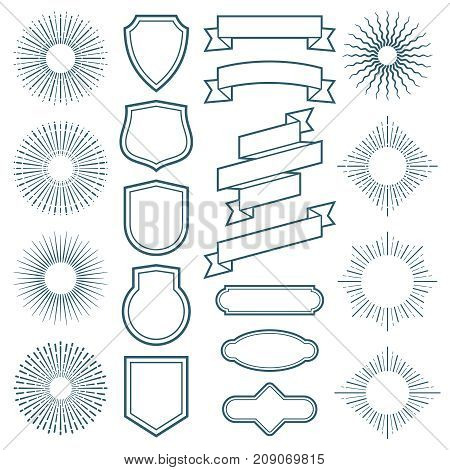 Vintage sunburst frames, ribbon banners and labels vector elements in art deco style. Sunburst and ribbon badge label, vintage ray frame illustration