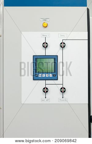Electrical Cabinet with touch panel on the door with different digital data on the screen