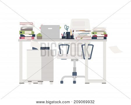 Office chair and desk completely covered with documents, folders, stationery. Table cluttered with papers. Working place and overwhelming amount of work. Colorful flat cartoon vector illustration