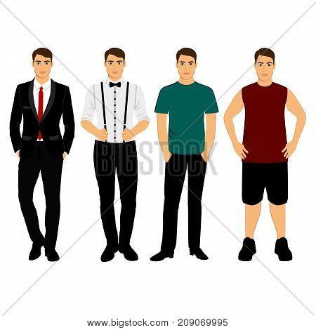 Collection. Men's Clothing. Classical. Casual. Wedding men's suit tuxedo Vector illustration