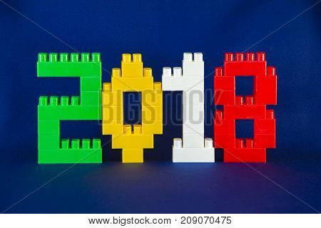 Tambov, Russian Federation - September 28, 2017 Lego New Year 2018 Concept With Lego Cubes On Blue B