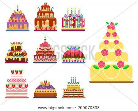 Wedding cake pie hand drawn style sweets dessert bakery ceremony delicious vector illustration. Fresh tasty dessert sweet pastry pie. Gourmet homemade delicious cream traditional bakery tart.