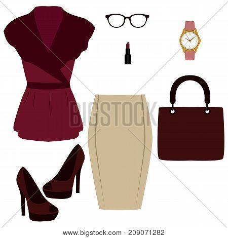Women's Accessories. Flat Design.