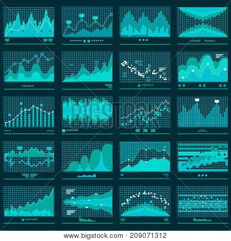Financial candle stick or line graphs. Currency business and market charts set. Finance data investment growth diagram. Graphic analysis of trends. Vector stock illustration
