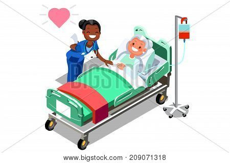 Female elderly patient and funny nurse. Isometric people in 3D flat vector illustration
