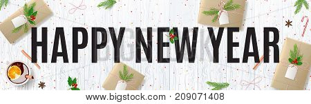 Happy New Year Banner with Festive Decoration. Beautiful Greeting Card with Lettering. Top View on Composition with Paper Gift Boxes for Merry Christmas. Vector Illustration.