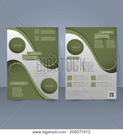 Flyer template. Business brochure. Editable A4 poster for design education, presentation, website, magazine cover. Green color.