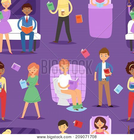 Reading cartoon people study in atheneum students characters read book library vector illustration. Men and women grown ups literature education seamless pattern background