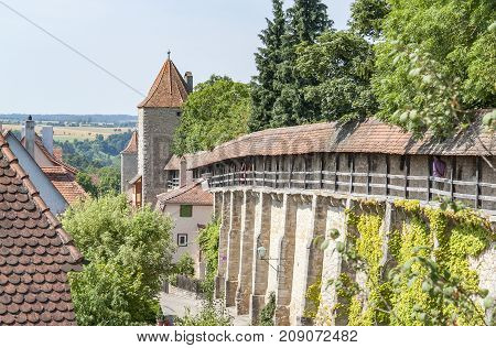 city view with town wall in Rothenburg ob der Tauber a town in Middle Franconia in Bavaria Germany