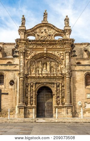 Facade of Priory church in El Puerto de Santa Maria town - Spain