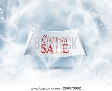 Winter frost ornamented window background for Christmas sale or clearance greeting card with paper ribbon. Vector eps10.