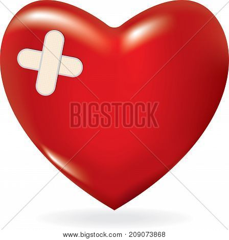 Red 3d heart with crossed plaster. Vector illustration